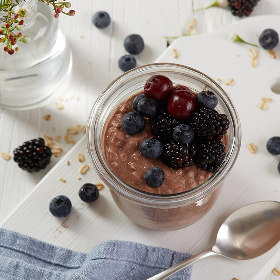 Kakao og Kirsebær kjøleskapsgrøt