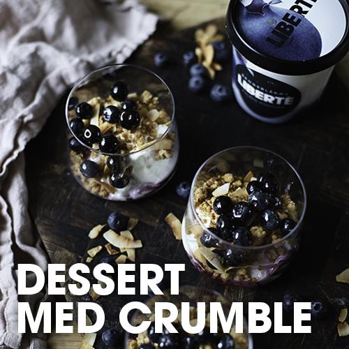 Dessert med crumble og skogsblåbæryoghurt